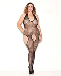 Haltered Patterned Bodystocking